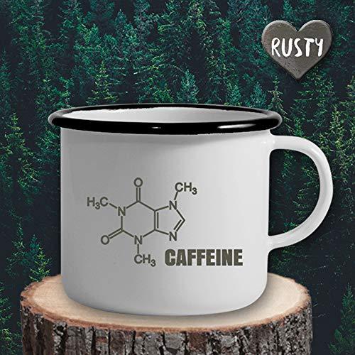 The Manufacture Koffein Tasse Kaffee Emaille Becher Tasse als Geschenk, weiß Gastgeschenk Büro