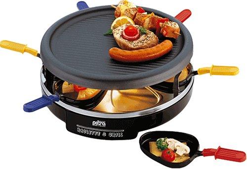 Petra RC 06.88 Raclette + Grill color, 6 Pfännchen, rund, anthaftbeschichtete Alu-Grillplatte Schwarz