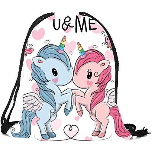 KroY PecoeD Unicorn Drawstring Bags für Unicorn Party Supplies, Unicorn Drawstring Schulter Rucksack Tasche für Kinder Kinder Unicorn Party Favors Geburtstagsgeschenk(13.0 x 17.0 inch Style 13)