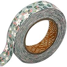 dailylike lkt115rollo de tela adhesiva flor/follaje algodón verde almendra 6,5x 6,5x 1,5cm)