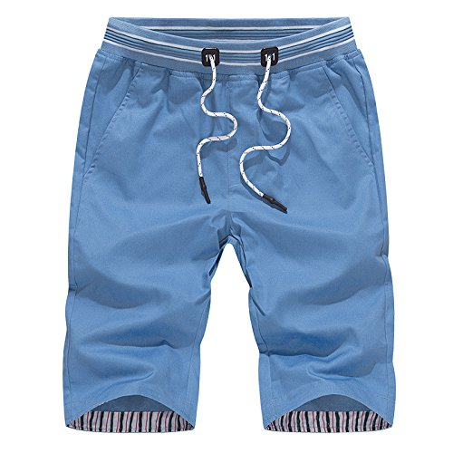 OME&QIUMEI Männliche Sport Hosen Sommer Sport Hose Baumwolle Casual Himmel Blau 3Xl (Jungen Camo Sky Blau)