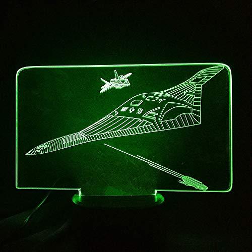 Air Switch 1-tisch-lampe (LLXPDZ 3D Nachtlicht Kampfflugzeug Lampe Touch Schalter Illusion Led 7 Farblichter Air Plane Tischleuchte)
