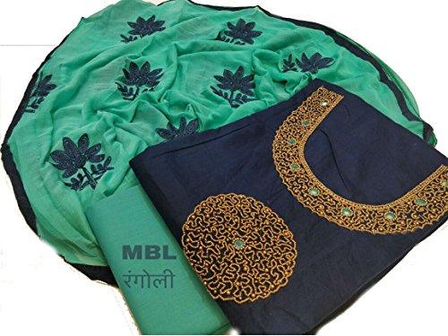 Blue Colour Modal Chanderi Silk With Khatali Hand Work Kameez