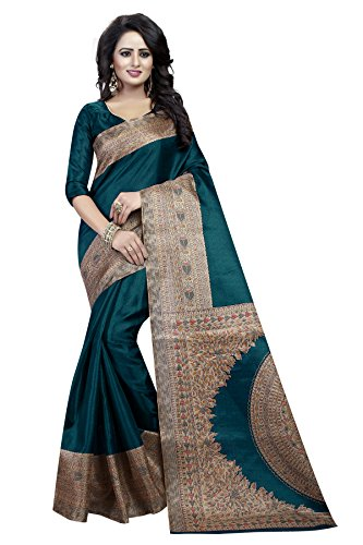 J B Fashion Silk Saree With Blouse Piece(H-Saree For Women-Kalamkari-Rama_Rama Free Size)