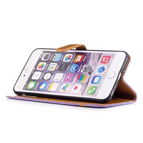 "Apple iPhone 6 Plus / 6S Plus 5.5"" Hülle, SATURCASE Prämie Jeans Stil PU Lederhülle Ledertasche Magnetverschluss Flip Cover Brieftasche Case Handy Tasche Schutzhülle Handyhülle mit Standfunktion Karte Lila"