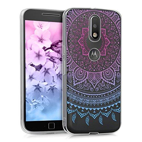 kwmobile Funda para Motorola Moto G4 / Moto G4 Plus - Case para móvil en TPU silicona - Cover trasero Diseño Sol hindú en azul rosa fucsia transparente