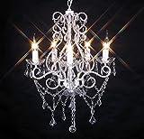 Livitat® Kronleuchter Lüster Deckenleuchte Hängeleuchte Lampe 5-flammig NEU...