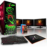 Fierce GOBBLER High-End RGB Gaming PC -4.5GHz Hex-Core Intel Core i7 8700K, 240GB SSD, 1TB HDD, 8GB, NVIDIA GeForce RTX 2080 8GB, Win 10, Tastiera (QWERTY), Mouse, 3x 21.5 pollici Monitor 867298