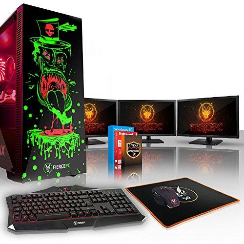 Fierce GOBBLER High-End RGB Gaming PC Bundeln - 4.1GHz Hex-Core Intel Core i5 8500, 240GB SSD, 1TB HDD, 16GB, NVIDIA GeForce RTX 2080 8GB, Win 10, Tastatur (QWERTY), Maus, 3x 21.5-Zoll-Monitore 843234