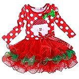 Internet Bébé filles enfants Coton À pois Noël Nouvel an robes manches longues (80(1-2 Ans), Rouge)