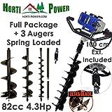 Professionelle Erdlochbohrer Post Pole Borer 82 CC 3 Bohrer 100 200 300 UltraSharp Bits mit Extensions und Sprungfeder Vergleich