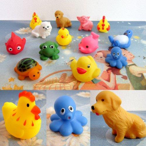 DingLong One Dutzend 13pcs Rubber Animals mit Sound Baby Dusche Favors Party Toy Bath Toy Mit Einem Fischernetz. (Baby-dusche Favor Für Party)