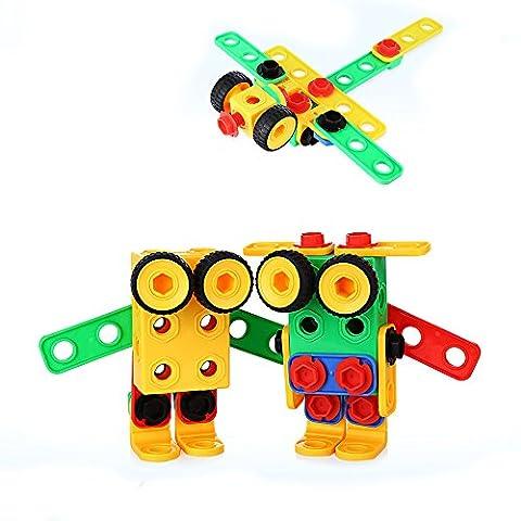 Ensemble de Jeu de Construction éducative Origine de 85 pièces Construction Blocs sont conçus pour les garçons et les filles de 3, 4 et 5 ans-Kit Créatif Fun -Meilleur Cadeau de Jouet pour Enfants