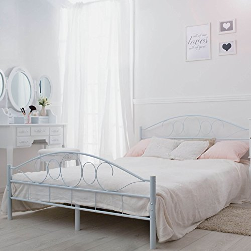 TecTake Double metal bed frame king size modern bedroom + slatted frame - different models - (140x200cm, White)