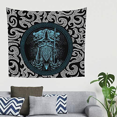 Wikinger Odin Krähe Speer Wandteppich Tapestry Psychedelisch Tapisserie Wandtuch Bohemian Wall...