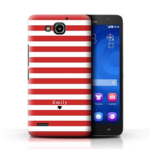 Personalisiert Individuell Streifen/Gestreift Hülle für Huawei Ascend G750 / Rot Streifen Herz Design / Initiale/Name/Text Schutzhülle/Case/Etui
