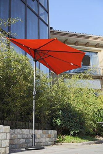 Angel Living 5814710 Sonnenschirm Ø 2,7m mit Kurbel Halbrund UV-Schutz 40+ Wasserabweisend Terrassen Sonnenschirm Balkonsonnenschirm Terrassenschirm (Terrakotta)