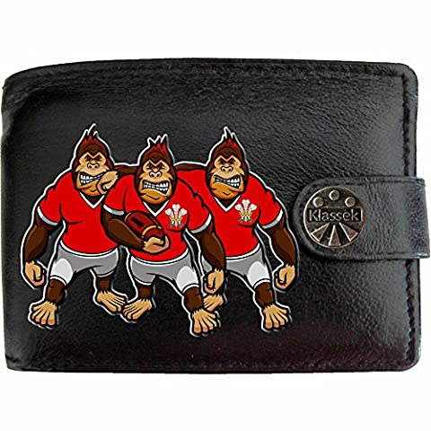 Klassek Welsh WALES Rugby Gorilla Caricatures Cymru Mens Black Leather Wallet Novelty shirt gift