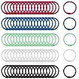 DUOUPA 100 Stück Buntes Buch Binder Metall Book Binder Ringe Schlüsselringe Keychain Ringe Binder für Loseblatt Verbinder Ringe Document Album Scrapbook Handwerk