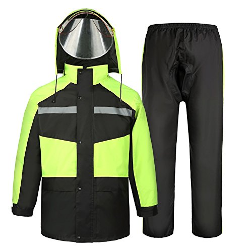 Regenmantel Doppelter wasserdichter Erwachsene, Regenhosenanzug, elektrische Motorradreitmänner und Frauen spalten (Farbe : Fluorescent Green, größe : XXXXL)
