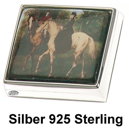 Pillendose Silber 925 Dame auf Pferd 2,5x3,5 cm