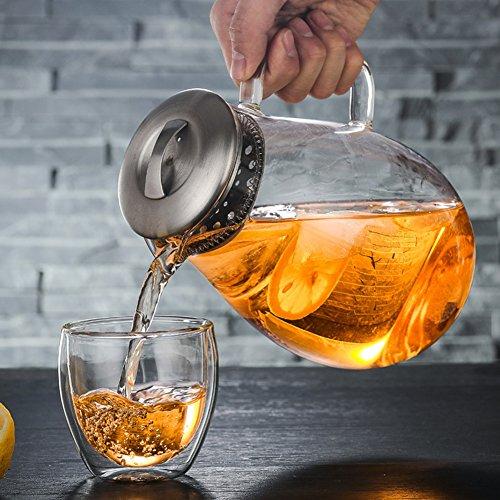 iBaste Teekanne Glas Teebereiter 1900 ML mit Abnehmbare Edelstahl Abdeckung Explosionsgeschützt und Hitzebeständig Saftflaschen für Hotel Restaurant - Hitzebeständiges Glas Teekanne