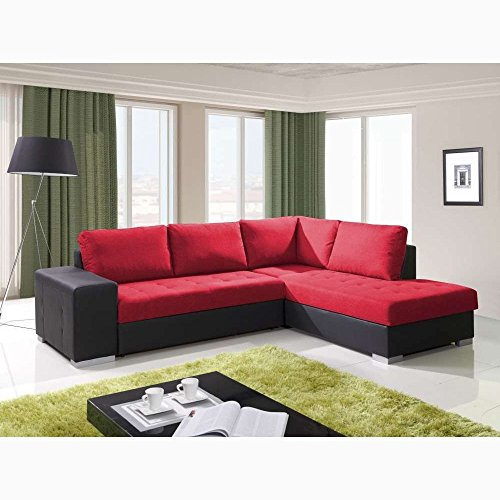 Justhome porto divano angolare divano letto finta pelle nero rosso (axlxl): 88x212x280 cm penisola a destra