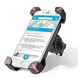 Support Vélo du Guidon, Wrcibo Support bicyclette Berceau Universel téléphone [Rotation à 360°] [Bracelet en caoutchouc] avec Smartphone , iPhone , GPS et autres appareils (Rose)