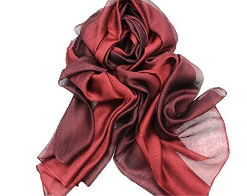 195*70cm Elegant stillvoll Seide Halstuch Stola Schal Farbverlauf Geschenk Freundin Damen (Rot)