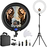 Ring light, improved version 19 inch LED outer adjustable colour temperature 3000K-5800K with stand, dimmable video LED light kit for YouTube makeup, phone adapter, video recording, portrait, Vlog, selfie