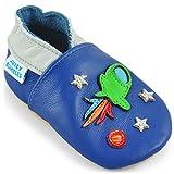 Juicy Bumbles - Weicher Leder Lauflernschuhe Krabbelschuhe Babyhausschuhe mit Wildledersohlen. Junge Mädchen Kleinkind- Gr. 12-18 Monate (Größe 22/23)- Raumschiff