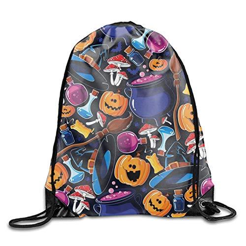ucksäcke, Halloween Pumpkin Sackpack Drawstring Backpack Waterproof Gymsack Daypack for Men Women Halloween Pumpkin1 Lightweight Unique 17x14 IN ()