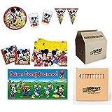 IRPot N17 - Juego de vajilla para cumpleaños (123 piezas), diseño de Mickey Mouse