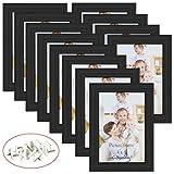 Giftgarden Bilderrahmen 10x15 cm Holz Schwarz 12er Set Glas Hochzeit Fotorahmen mehrere Bilder