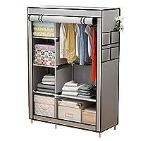YAYI Canvas Wardrobe Portable Wardrobe Clothes Storage With 6 Shelves and Hanging Rail,Grey