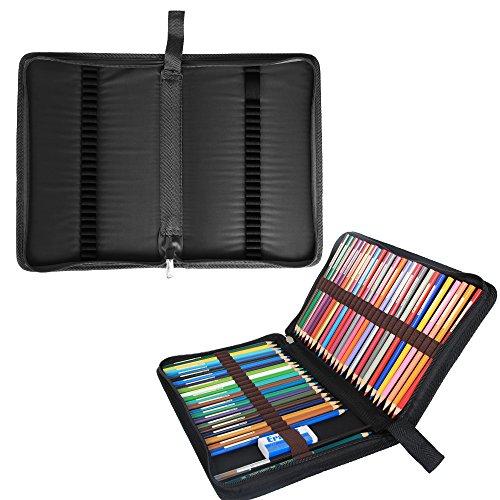 damero-48-colored-pencil-case-pen-holder-travel-organizer-bag-for-artist-no-pencils-included-black-b