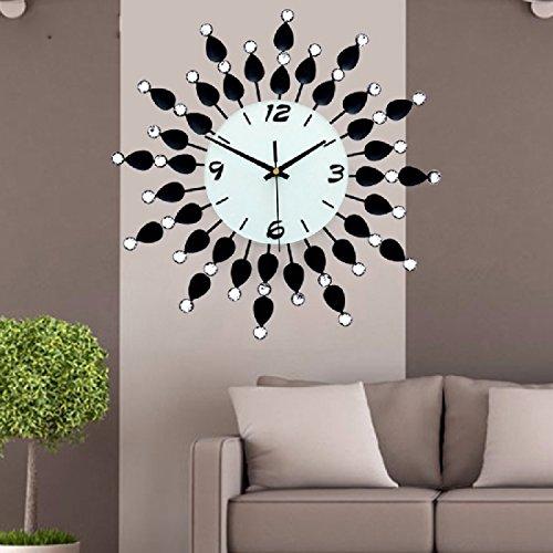 BBSLT Continental Eisen-verzierte elektronische Uhr Mode kreativ Wohnzimmer Wand Dekorationen Charts Silent Quarz Wanduhr