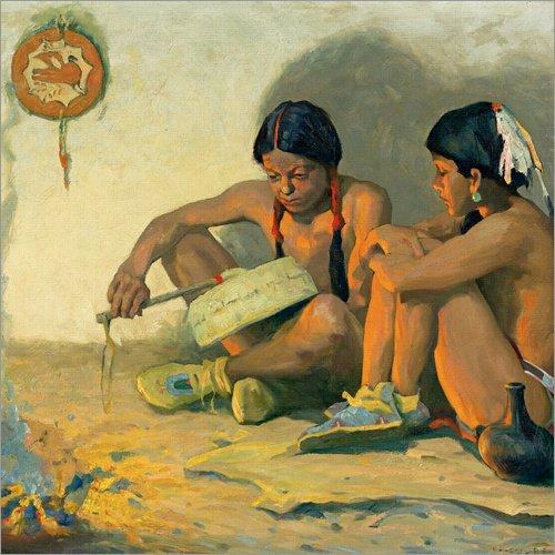 Staaten Vereinigten Traditionellen Kostüm - Posterlounge Acrylglasbild 30 x 30 cm: Die Tom Tom Lektion von Eanger Irving Couse - Wandbild, Acryl Glasbild, Druck auf Acryl Glas Bild