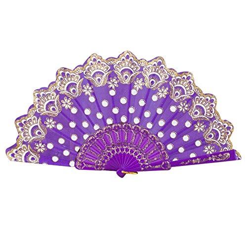Kostüm Lila Belle - Ziyou Chinesischen/Spanischen Stil Tanz Hochzeit Spitze Seide Falten Hand Blume Fan(43cm, Lila)