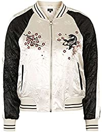 Topshop Pale Pink Contrast Embroidered Bomber Jacket Puffa Jacket Coat Outerwear UK 10 / EURO 38 / US 6 - Brand New With Tags