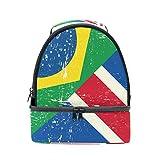 COOSUN Großbritannien und Brazilian-Schmutz-Flagge Lunch Bag Dual-Deck Isolierte Lunch Cooler Tote Bag Verstellbaren Riemen Griff für Männer Teens Jungen Mädchen Groß Multi