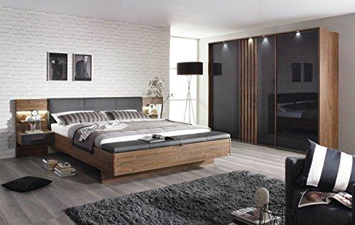 lifestyle4living Schlafzimmer, Schlafzimmereinrichtung, 4-teilig, Schwebetürenschrank, Schiebetüren, Bettanlage, Nachttische, Polsterbank, Eiche Stirling,