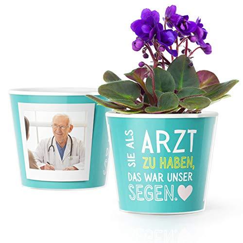 Ärzte Geschenk Blumentopf (ø16cm)   Geschenke für einen Doktor zum Danke Sagen mit Bilderrahmen für 2 Fotos (10x15cm)   Sie als Arzt zu haben, das war unser Segen