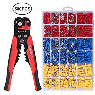 Proster Crimping Tool Set 0.5-6.0mm Crimper 0.2-6mm Stripper Plier with 500PCS Insulated Connectors Kit Include Male Female Spade Bullet Ring Butt Splice Piggy Back Wire Terminals
