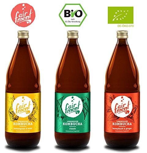 3 Liter Original Bio Kombucha Tee Getränk natürlich fermentiert und nicht pasteurisiert/Rohkost...