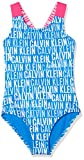Calvin Klein Mädchen Badeanzug Swimsuit-PRT, Blau (Ikat Logo AOP 418), 140 (Herstellergröße: 8-10)