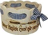 GlamAlms zauberhaftes bissle grösseres Brotkörbchen , Brotkorb RUND HANDBRANDMALEREI , STOFF IN 3 FARBEN im Alpen Style aus Fichten Holz - Rustikal und Zauberhaft 21cm
