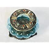 Metal Carving Glass Ash Tray With Sky Blue Colour