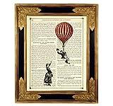 Liebespaar Luftballon Kunstdruck auf antiker Buchseite Hochzeit Geschenk Valentinstag Verlobung Bild Poster Steampunk ungerahmt