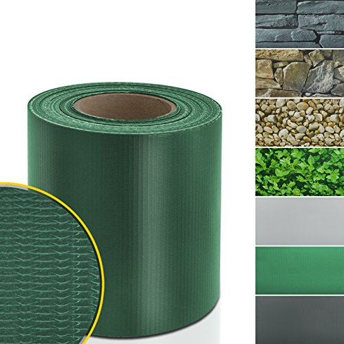 casa pura Sichtschutzstreifen PVC   Sichtschutzfolie Gartenzaun oder Balkon   inkl. 20 Befestigungsclips   für Einzel- und Doppelstabmatten geeignet   19 cm x 35 m   einfarbig oder mit Motiv  Grün